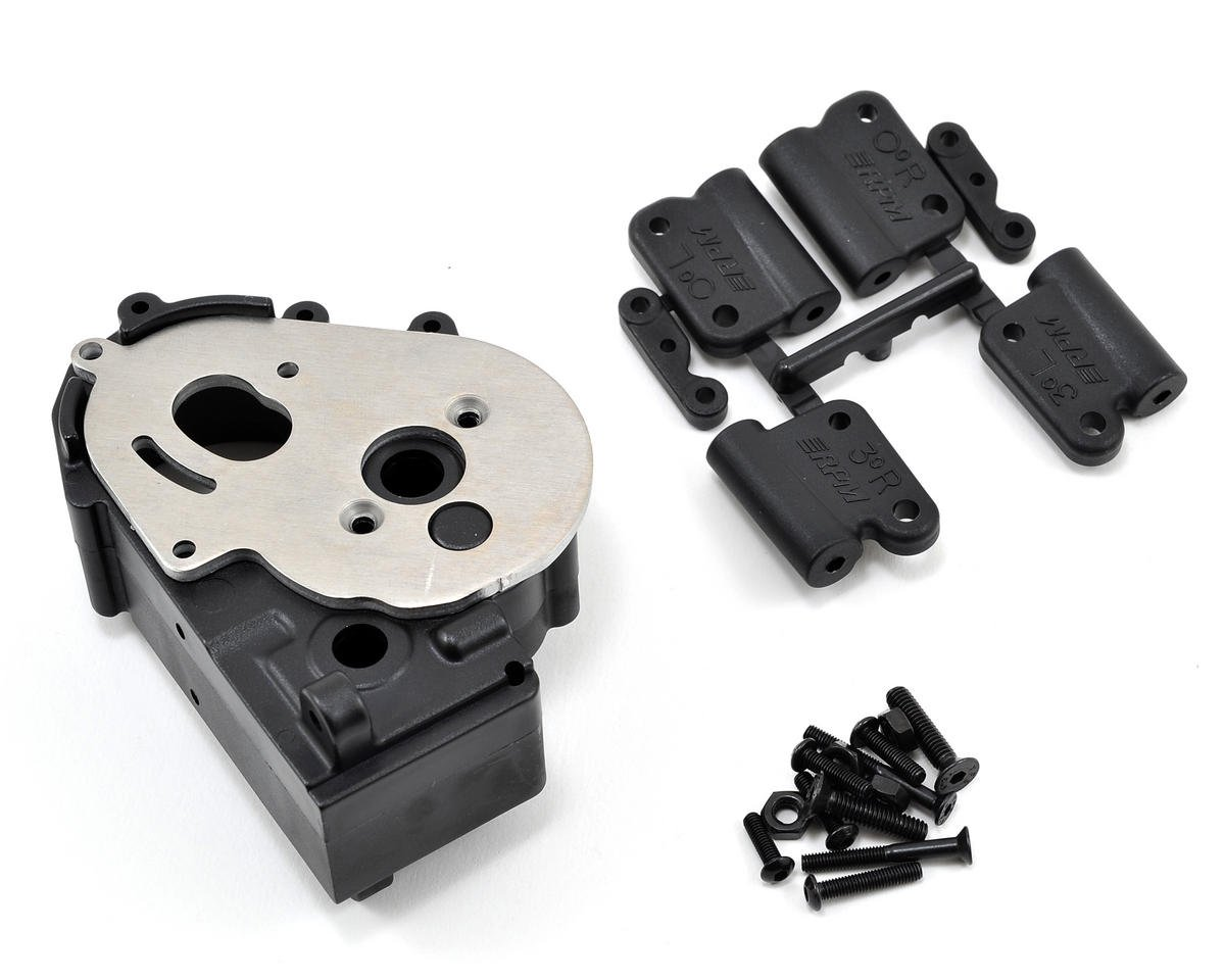 RPM Hybrid Gearbox Housing & Rear Mounts (Black) (Traxxas Rustler)