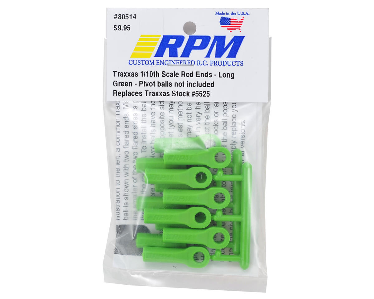 Rpm long traxxas turnbuckle rod end set green