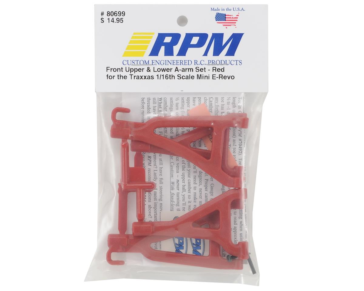 Front Upper & Lower A-Arm Set (1/16 E-Revo) (Red) by RPM