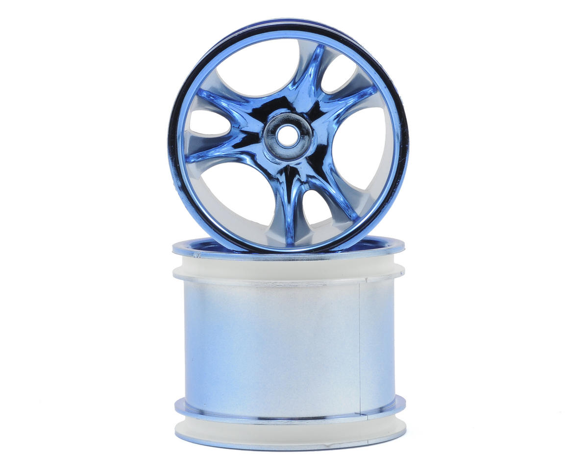 "RPM ""Clawz 6-Spoke"" Traxxas Electric Front & Nitro Rear Wheels (2) (Blue Chrome)"