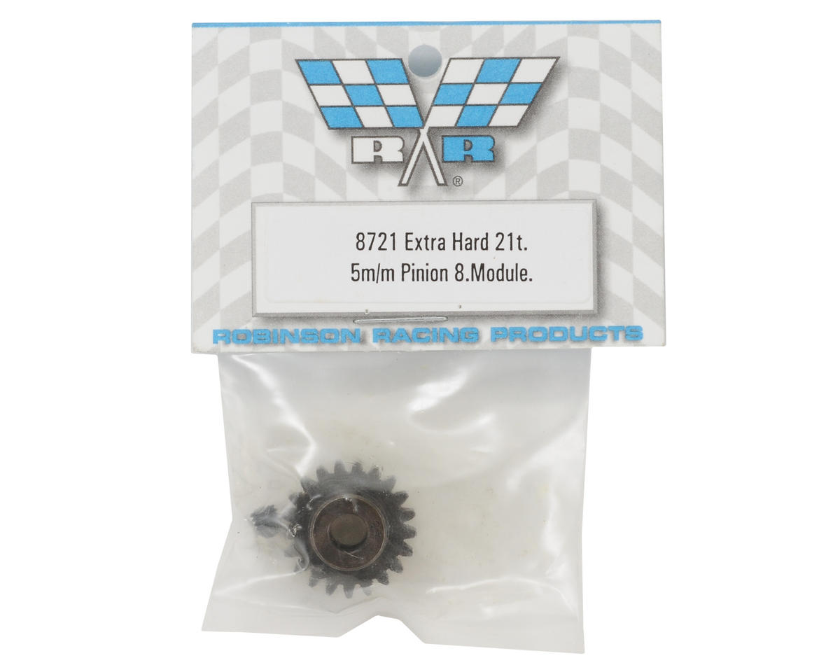 Extra Hard Steel .8 Mod Pinion Gear w/5mm Bore (21T) by Robinson Racing