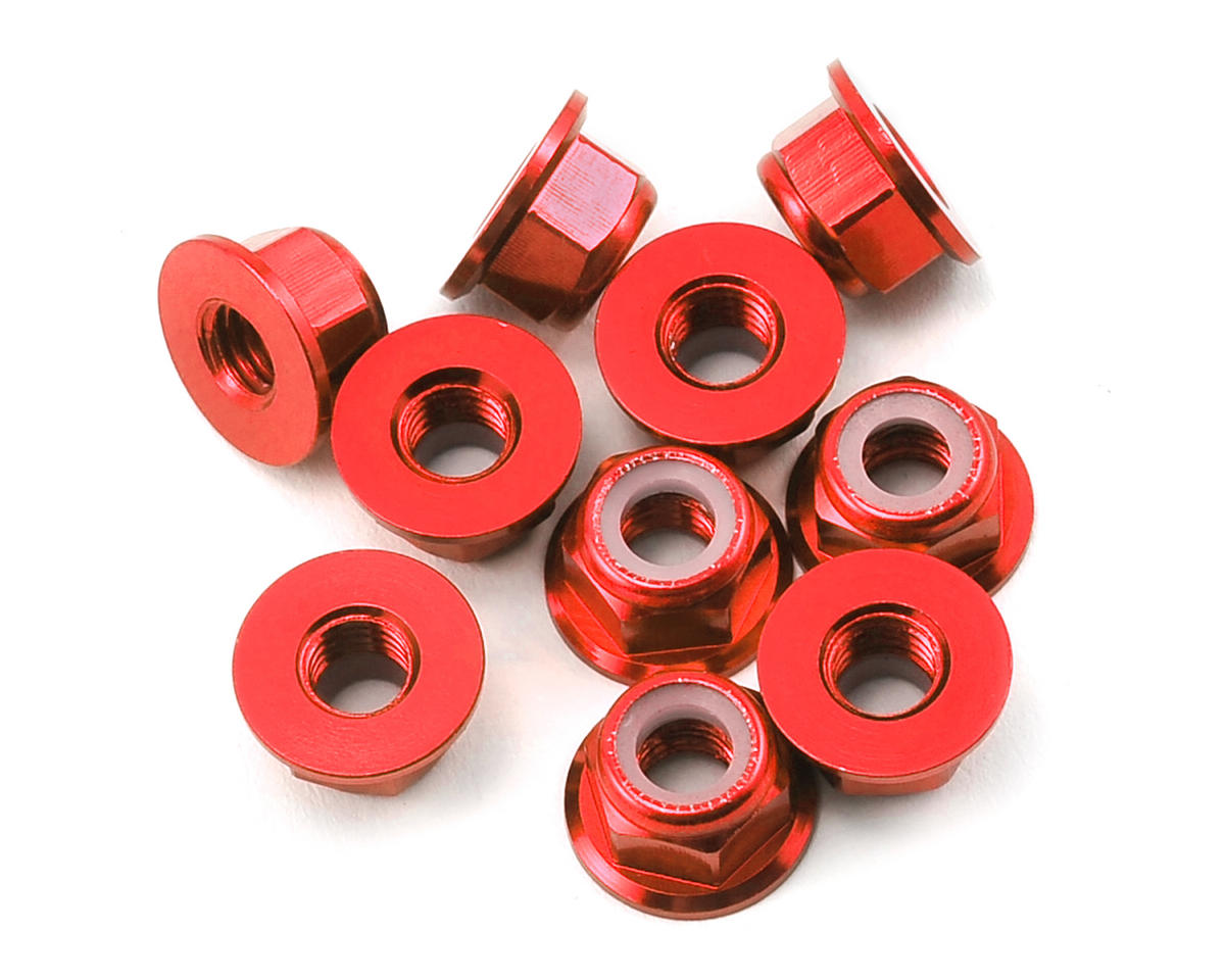RCTimer M5 Aluminum Flanged Lock Nut (CW) (10) (Red)
