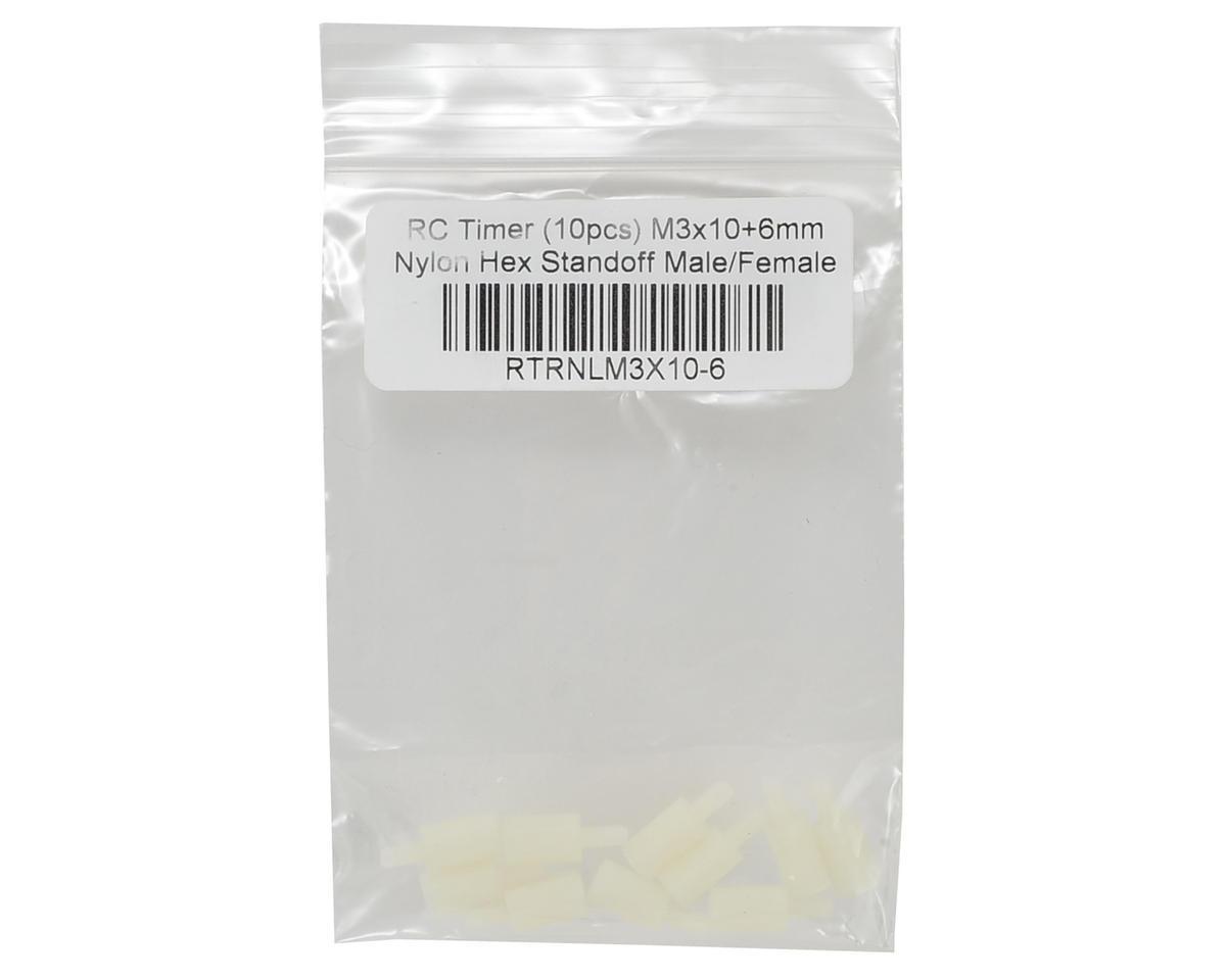 RCTimer 3x10mm Nylon Hex Standoff w/6mm Threaded Post (10) (Male/Female)