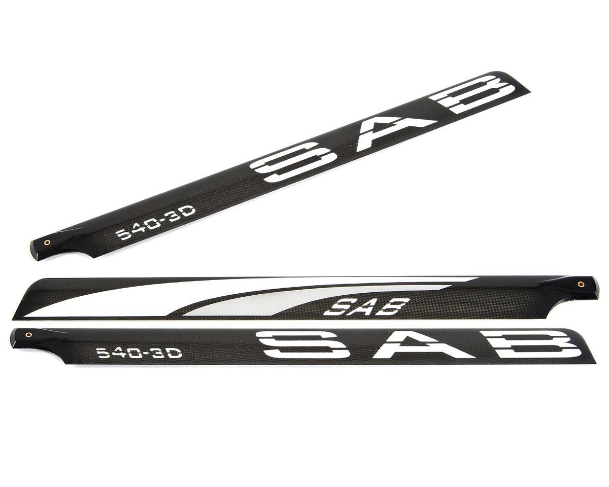 SAB 540mm Blackline 3D Carbon Fiber Main Blades (Silver) (3-Blade)