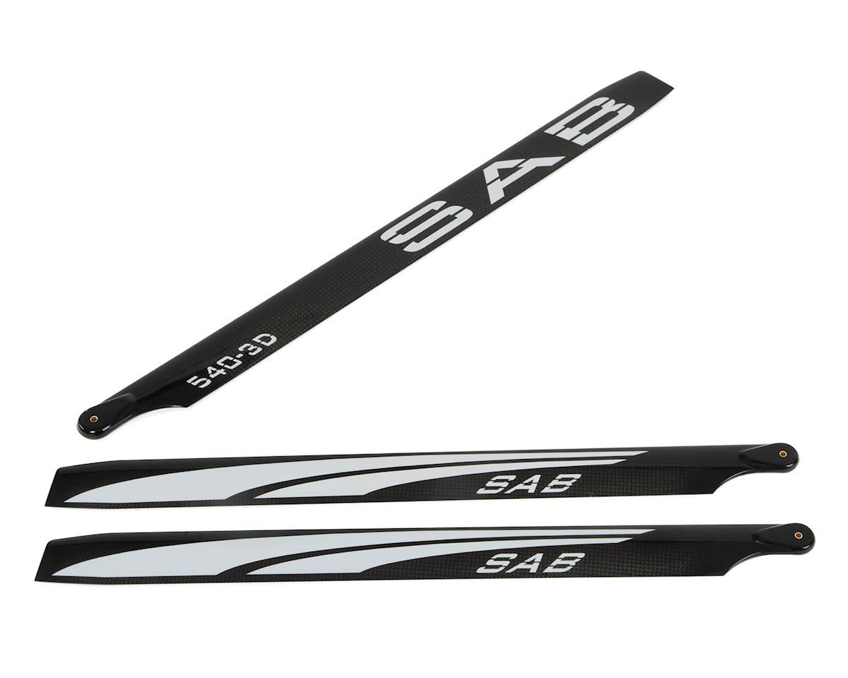 SAB Goblin 540mm Blackline 3D Carbon Fiber Main Blades (White) (3-Blade)