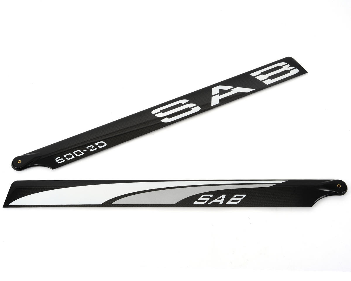 "SAB 600mm ""Blackline"" 2D Carbon Fiber Main Blades (Silver)"