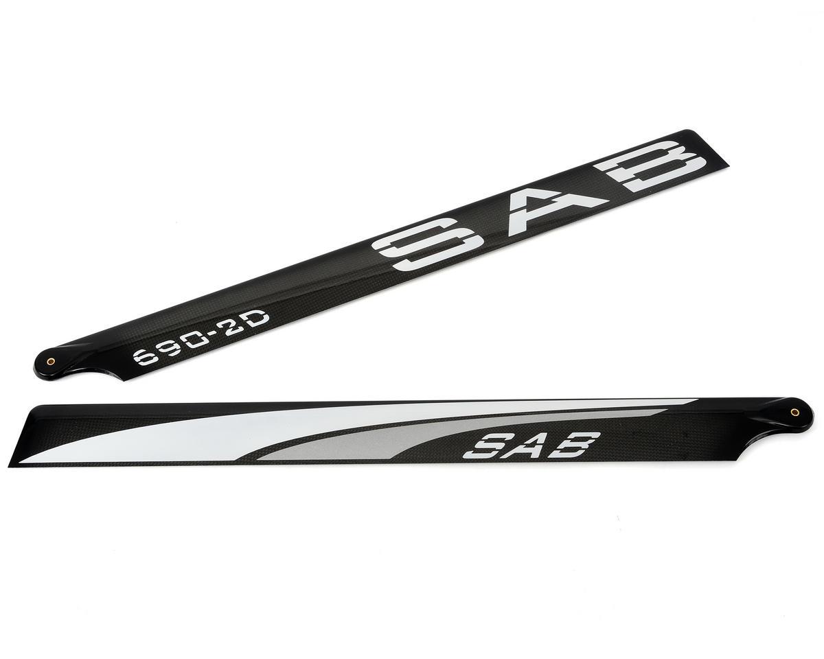 """SAB 690mm """"Blackline"""" 2D Carbon Fiber Main Blades (Silver)"""