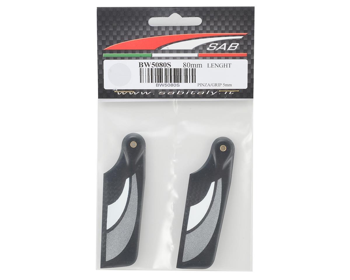 SAB Goblin 80mm Carbon Fiber Tail Blade Set (Black/Silver)