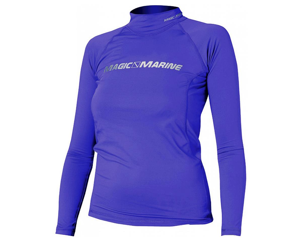 Magic Marine Cube Rash Vest Ladies Long Sleeve Purple, Large