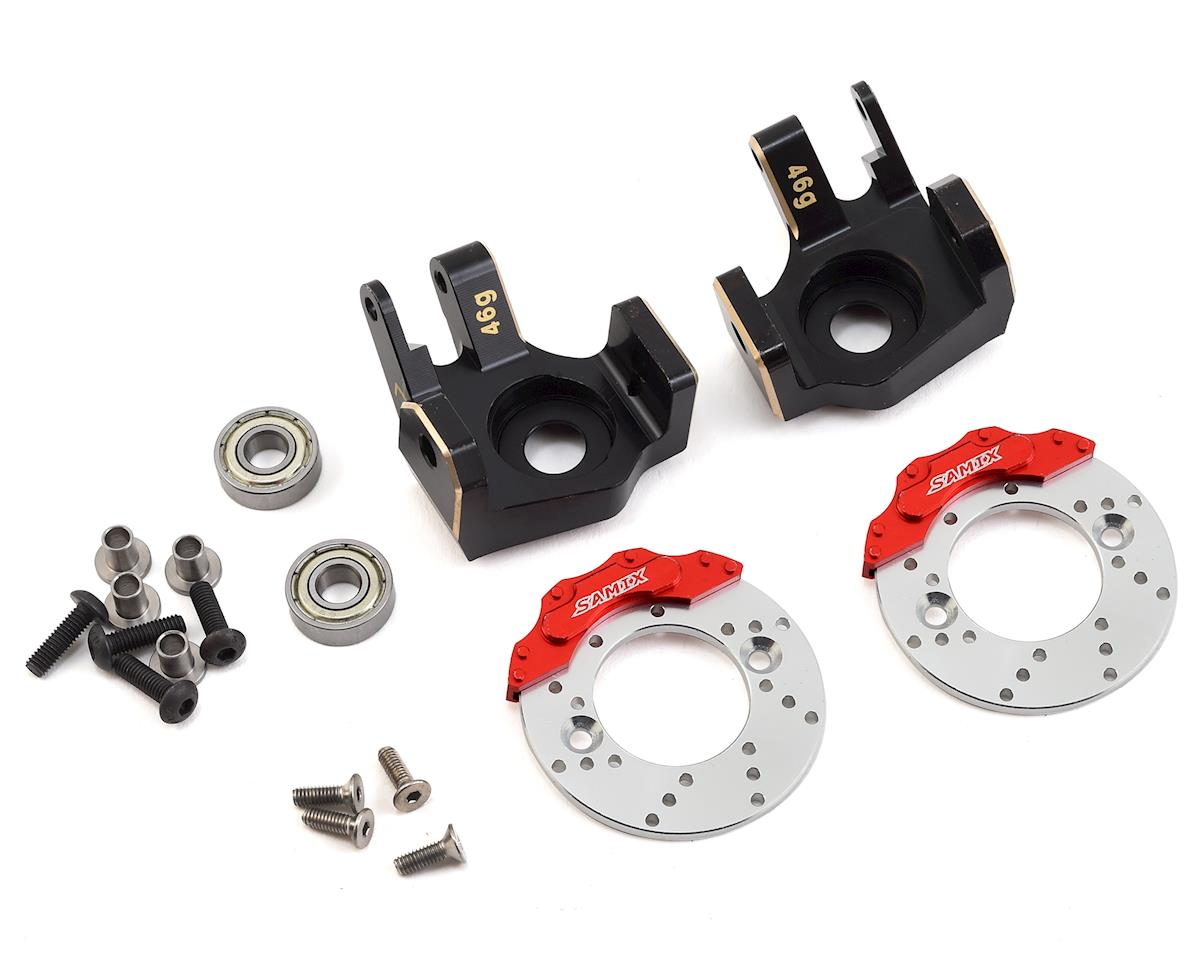 Samix SCX10 II Brass Heavy Duty Steering Knuckle w/Brake Rotor (Black) (2)
