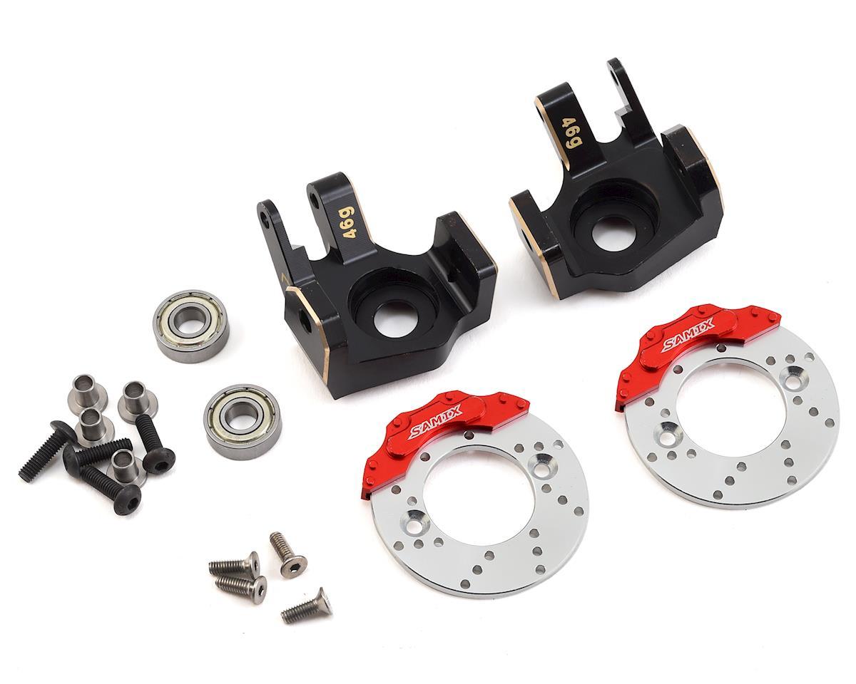 SCX10 II Brass Heavy Duty Steering Knuckle w/Brake Rotor (Black) (2)