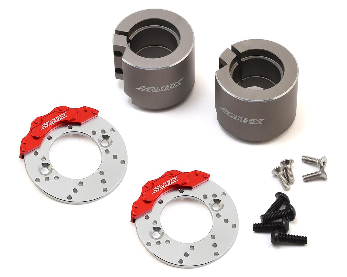 Samix SCX10 II Aluminum Rear Brake Adapter w/Brake Rotor (Gun Metal) (2)