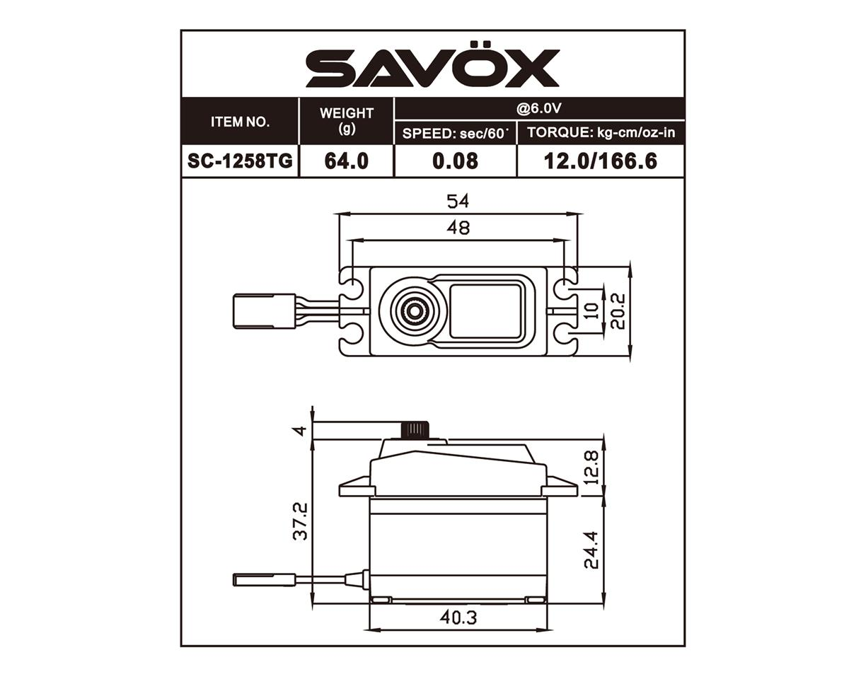 "Savox SC-1258TG Standard Digital ""High Speed"" Titanium Gear Servo"