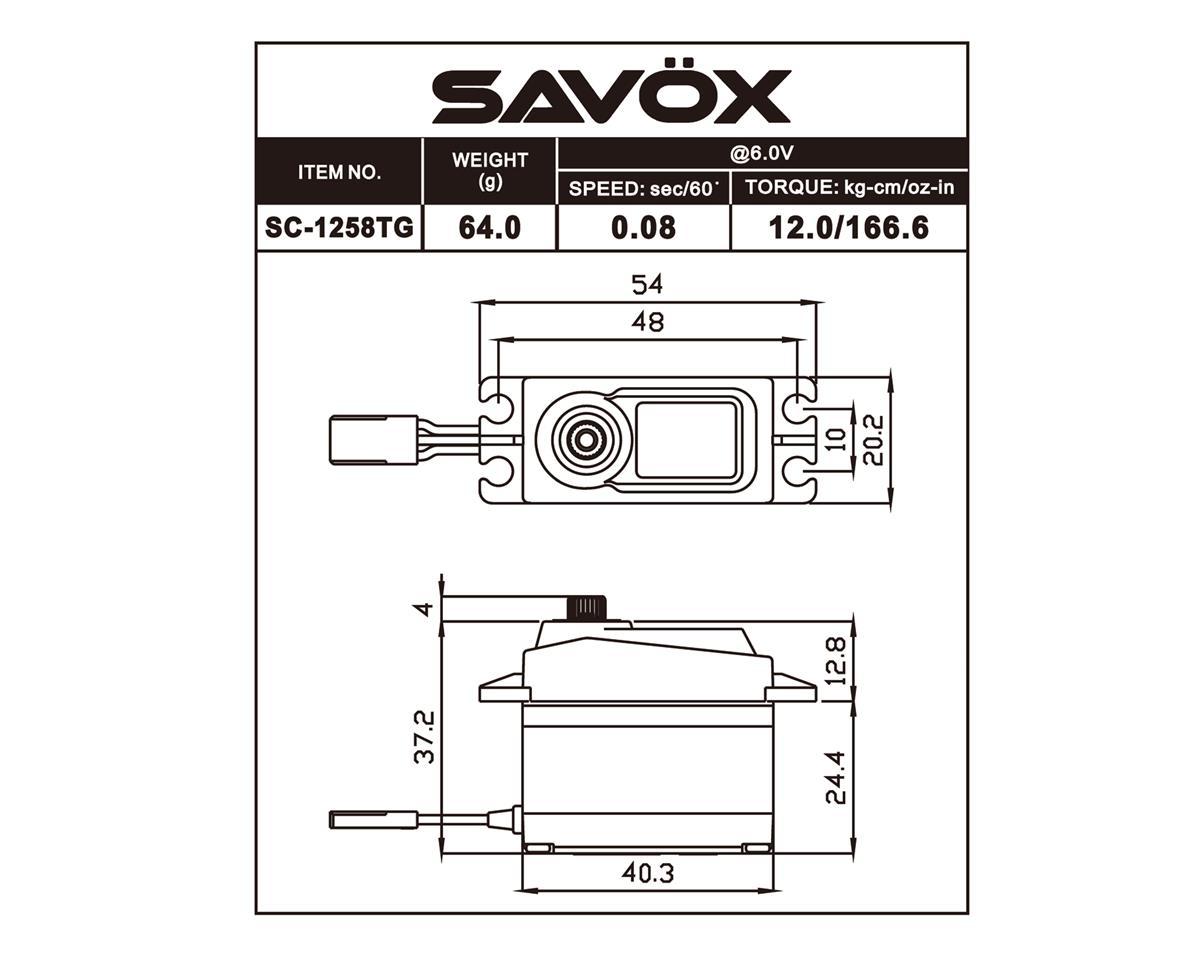 """Savox SC-1258TG Standard Digital """"High Speed"""" Titanium Gear Servo"""