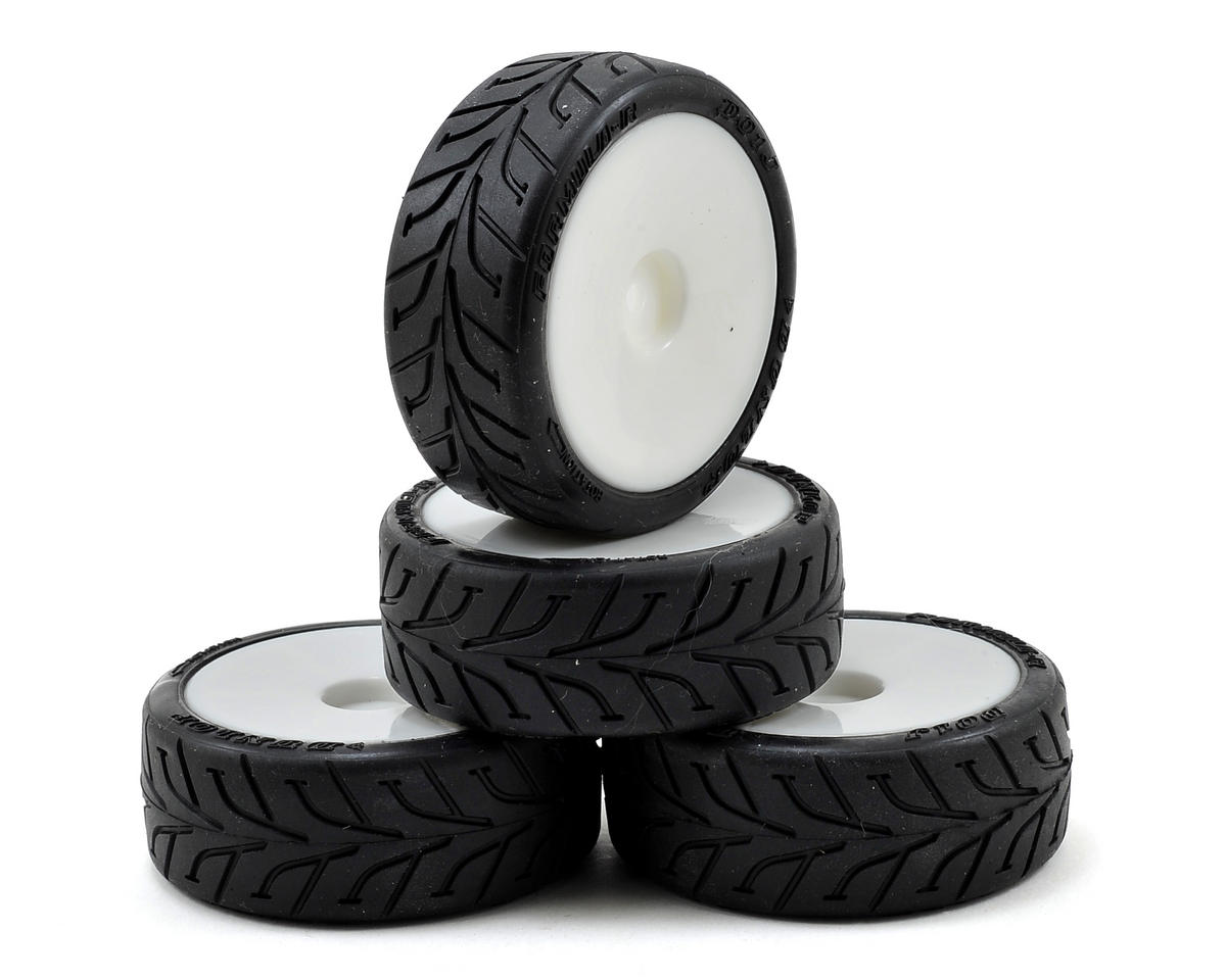 12mm Hex Shimizu Pre-mounted Rain Racing Tires (4) (White) (Soft) by Schumacher