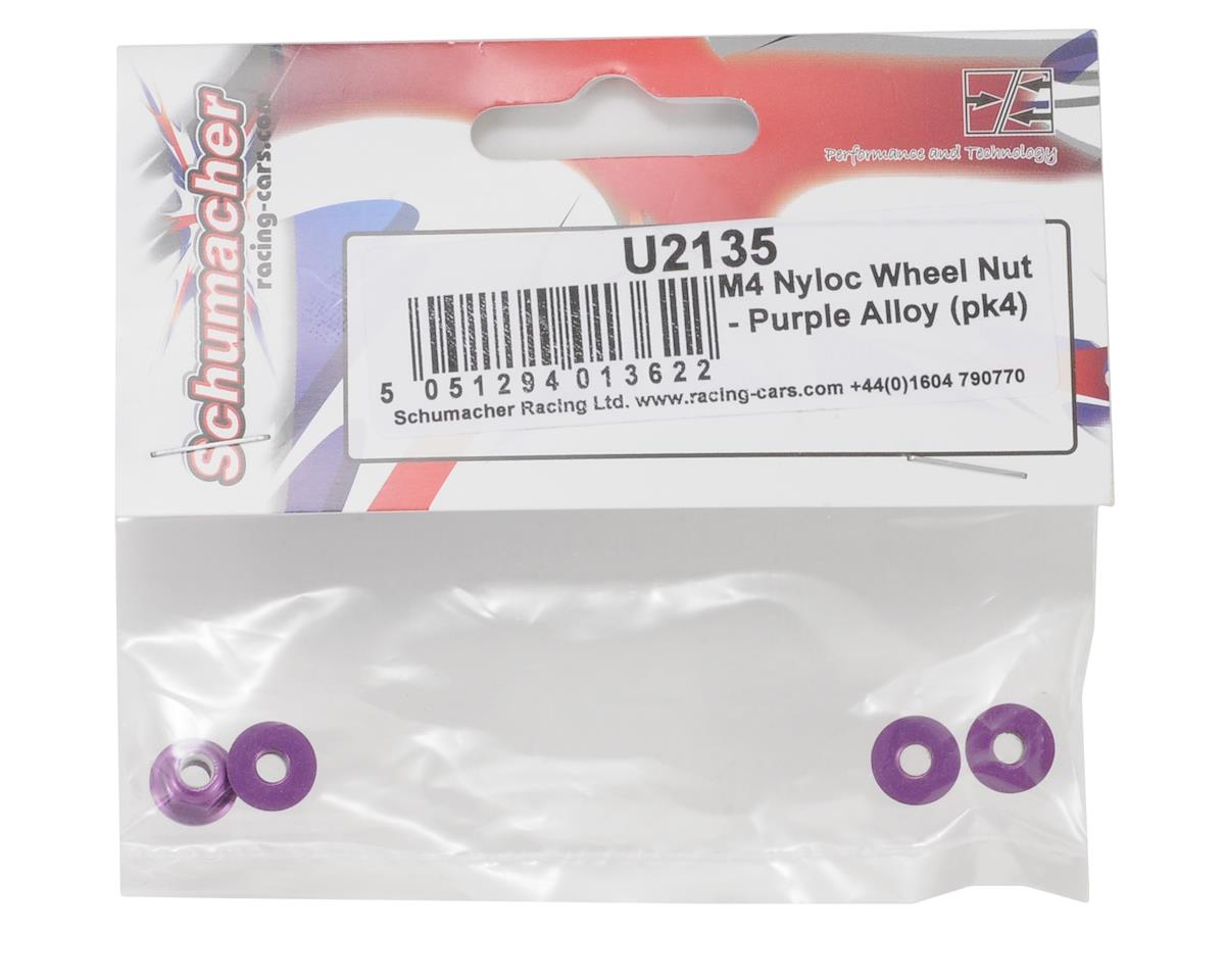 Schumacher 4mm Alloy Wheel Nut (Purple) (4)