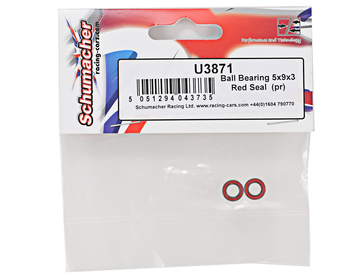 Schumacher 5x9x3mm Red Seal Ball Bearing Set (2)