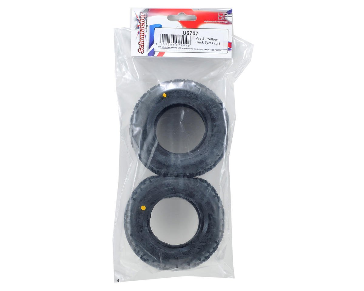 "Schumacher ""Vee 2"" 2.2"" 1/10 Truck Rear Carpet Tires (2) (Yellow)"