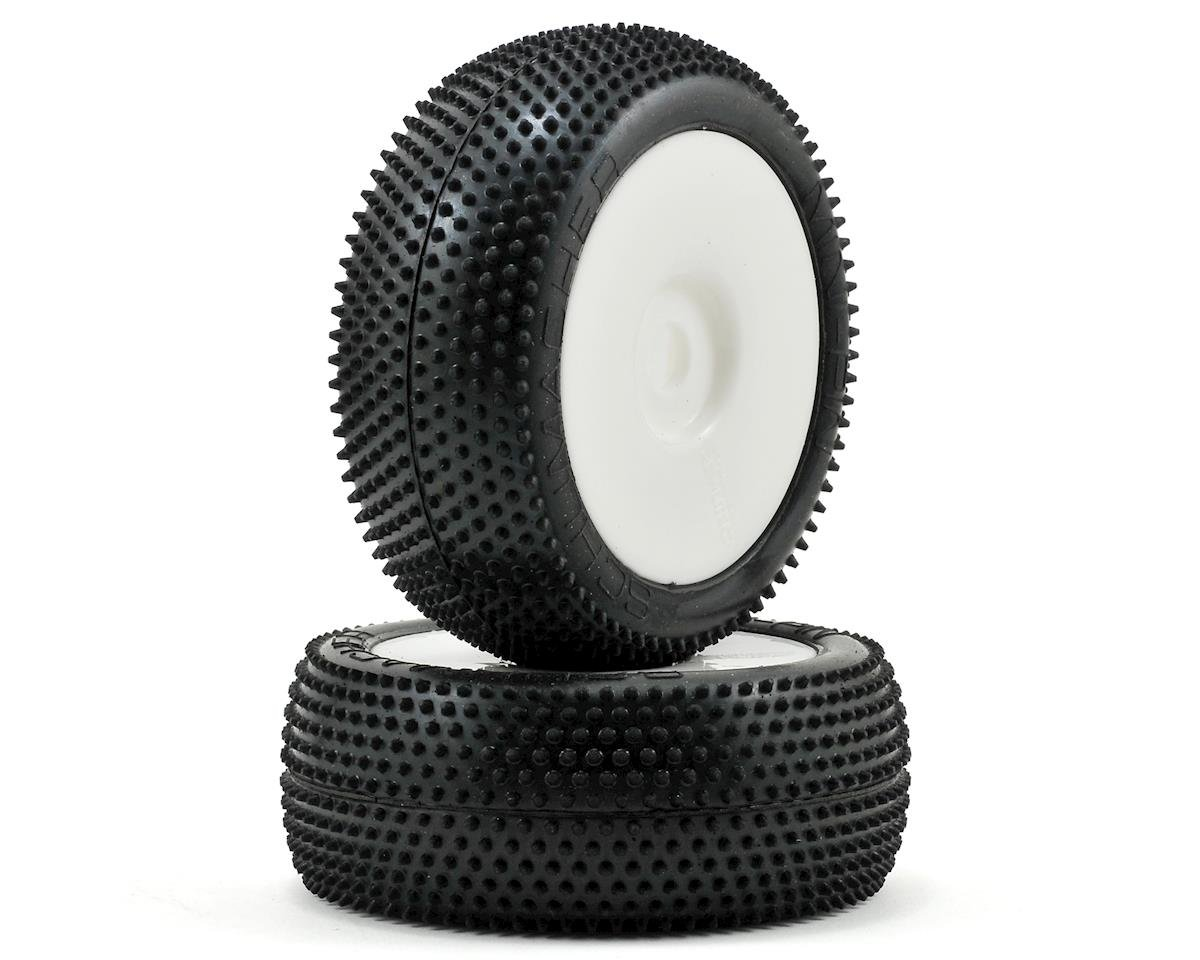 "Schumacher ""Mini Pin"" Pre-Mounted 1/8 Buggy Tires (2) (White) (Silver)"