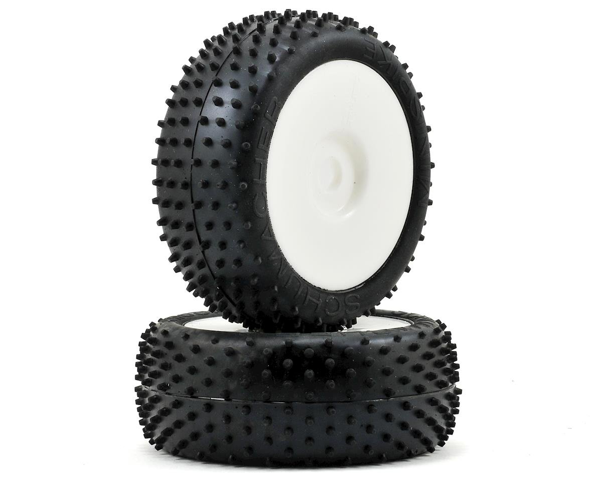 """Mini Spike"" Pre-Mounted 1/8 Buggy Tires (2) (White) (Yellow) by Schumacher"