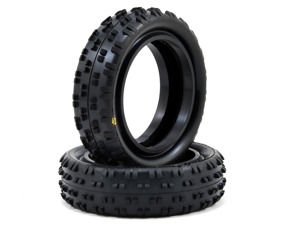 """Cut Stagger"" Low Profile 2.2"" 1/10 2WD Buggy Front Tires (2) (Yellow) by Schumacher"