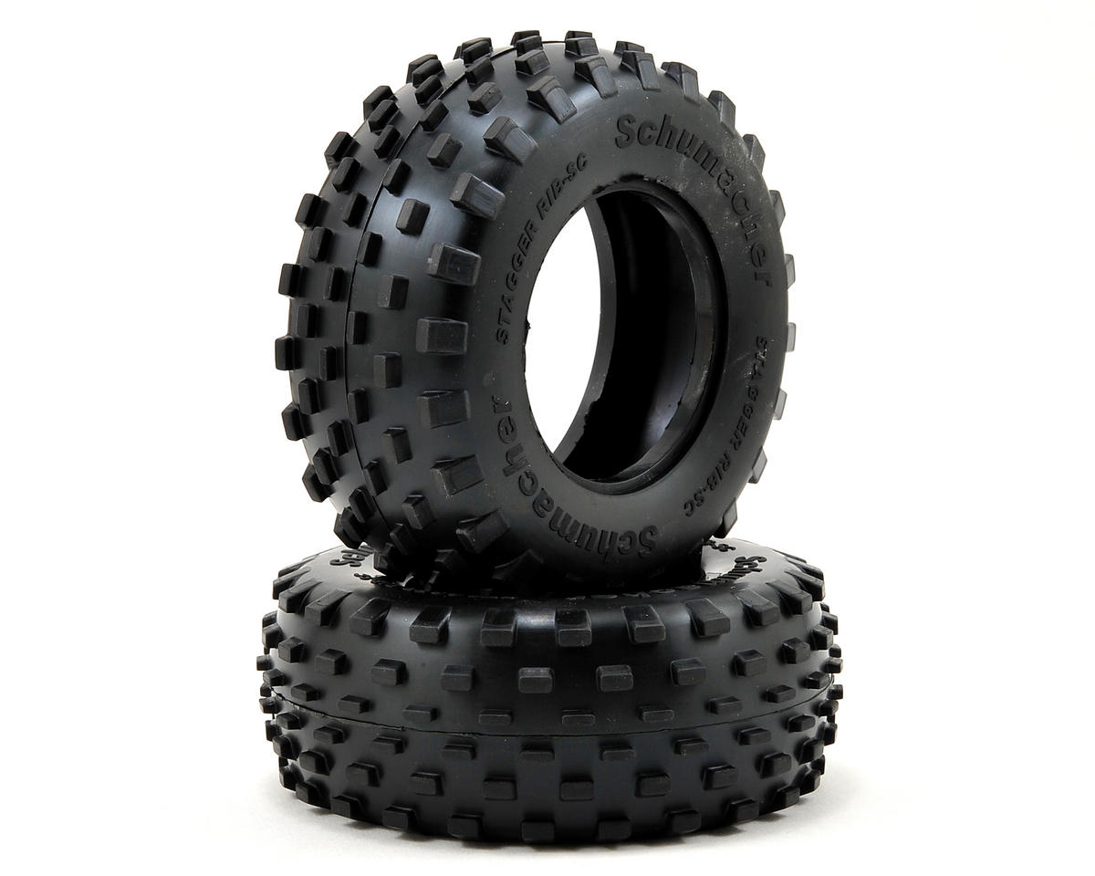 """Stagger Rib"" Short Course Truck Tires (2) (Yellow) by Schumacher"