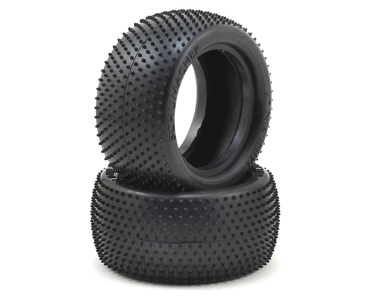 """Schumacher """"Mini Pin 1"""" 2.2"""" 1/10 Rear Buggy Carpet Tires (2) (Silver)"""