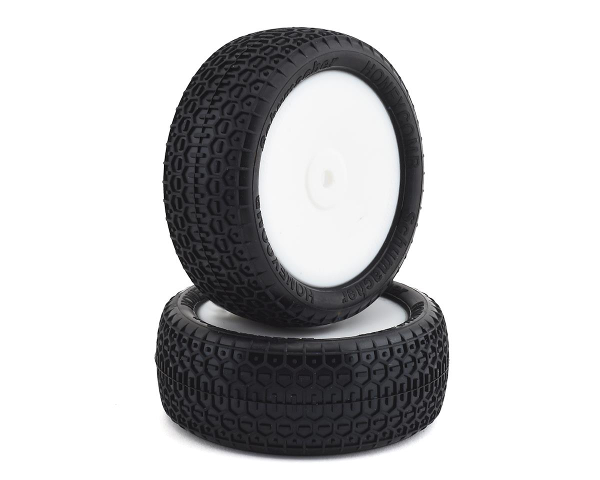 """Schumacher Honeycomb Pre-Mounted 2.2"""" 4WD Front Buggy Tires (2) w/12mm Hex (Yellow)"""