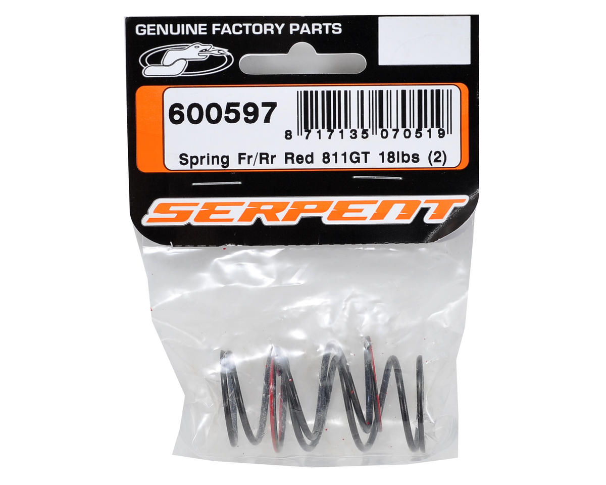 Serpent Front/Rear Shock Spring (Red/18lbs) (2)
