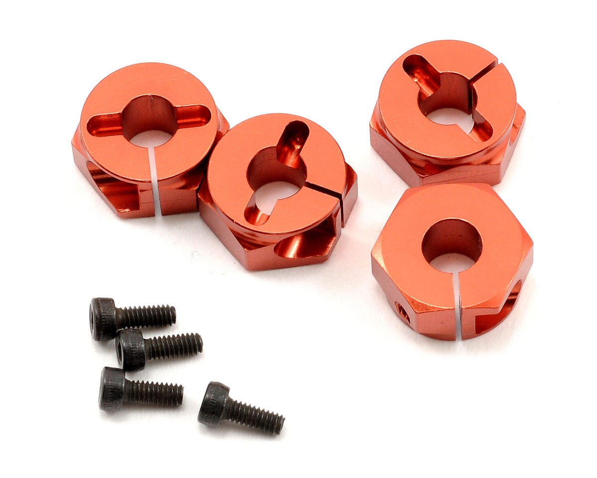 Serpent 733 +1mm Clamp Type Wheel Adapter Set (Orange) (4)