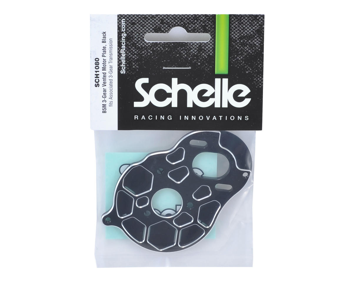 "Schelle Racing B5M ""3 Gear"" Vented Motor Plate (Black)"