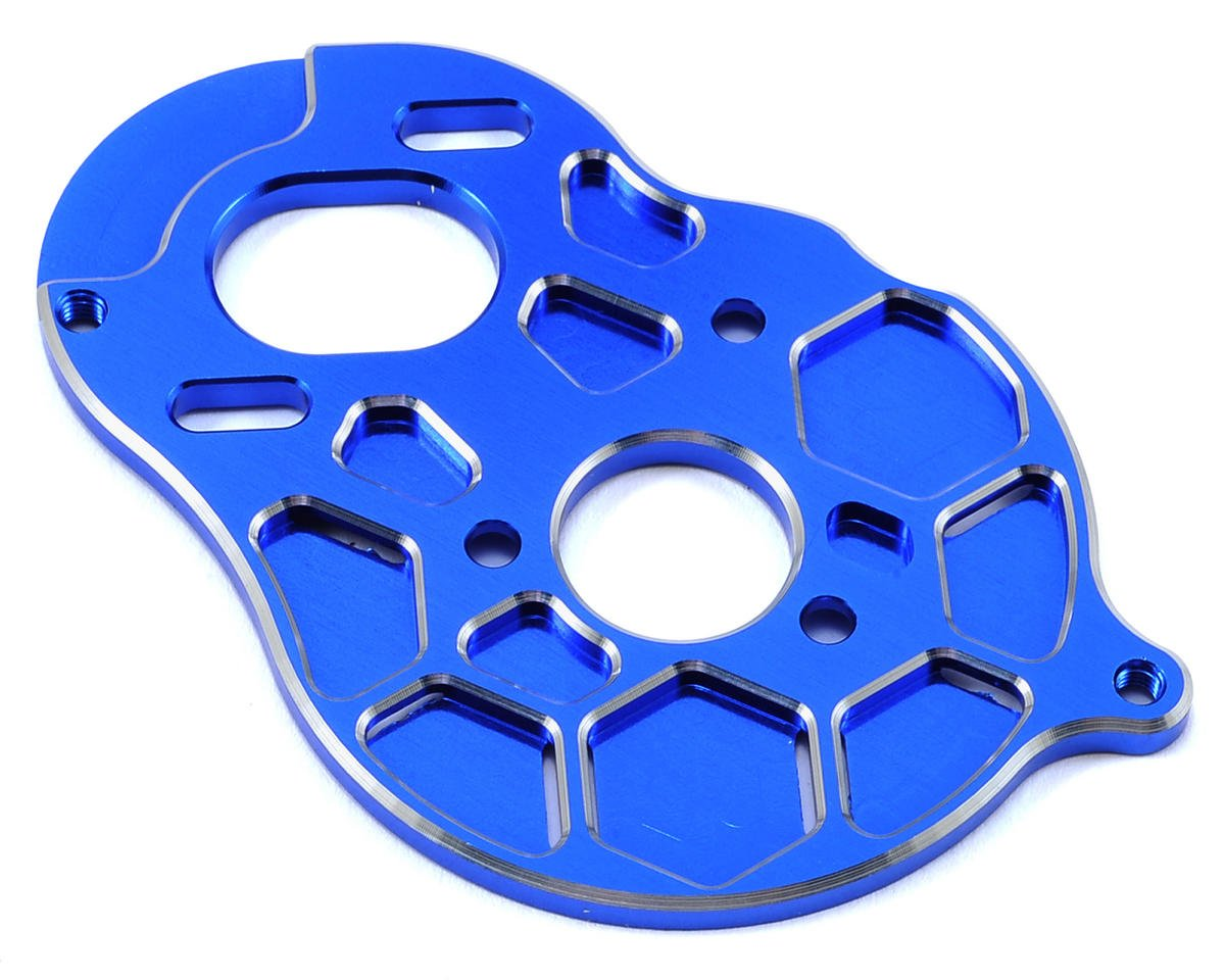 "B5M ""4 Gear"" Vented Motor Plate (Blue) by Schelle Racing"