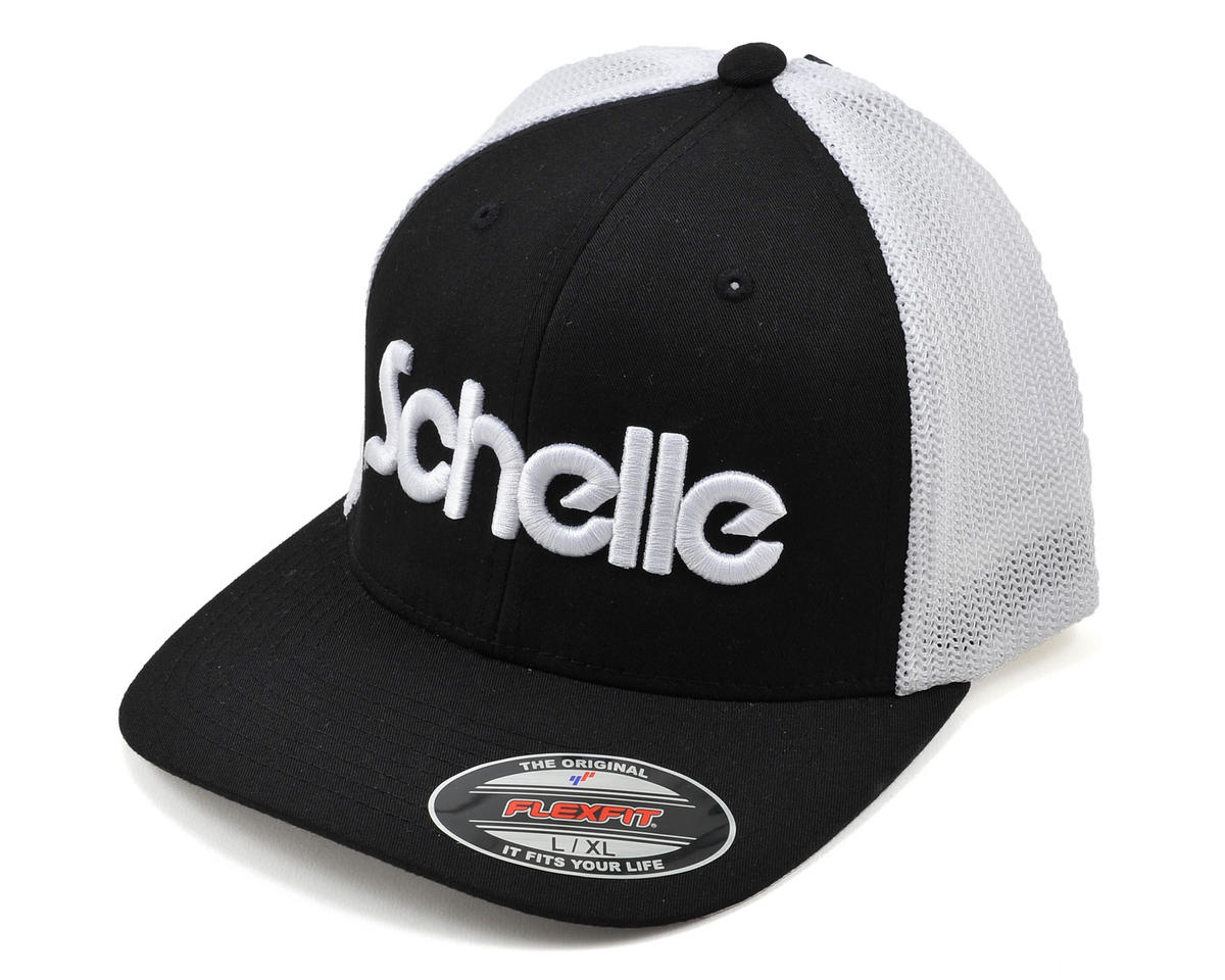 3-D Puff Fitted Trucker Hat (Black) (L/XL) by Schelle Racing