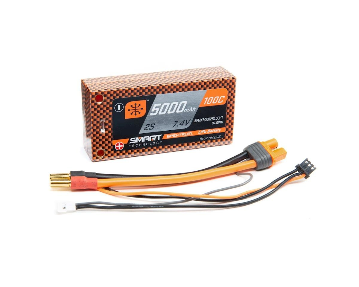Spektrum RC 2S 100C Smart LiPo Shorty Pack Battery w/Tubes (7.4V/5000mAh)