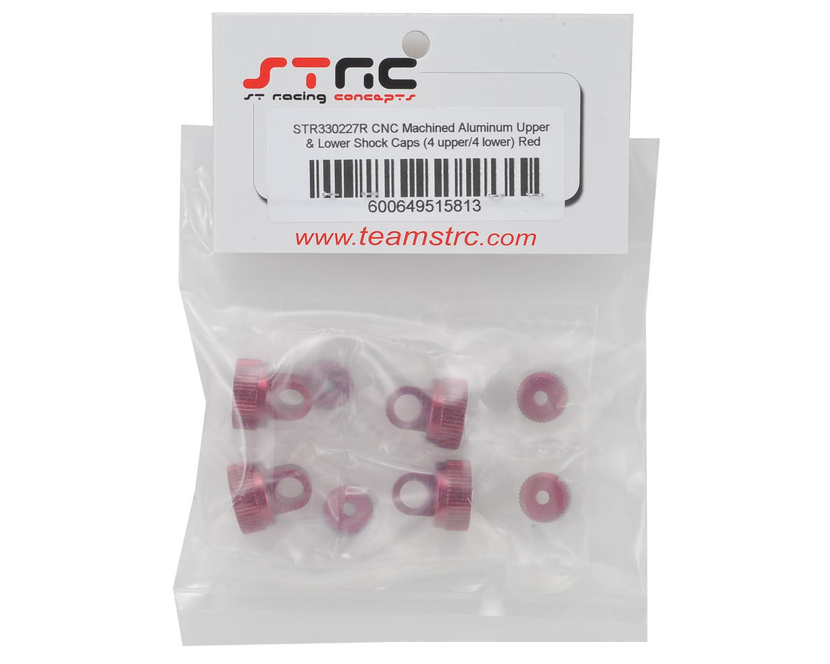 ST Racing Concepts Arrma Aluminum Upper & Lower Shock Caps (Red)
