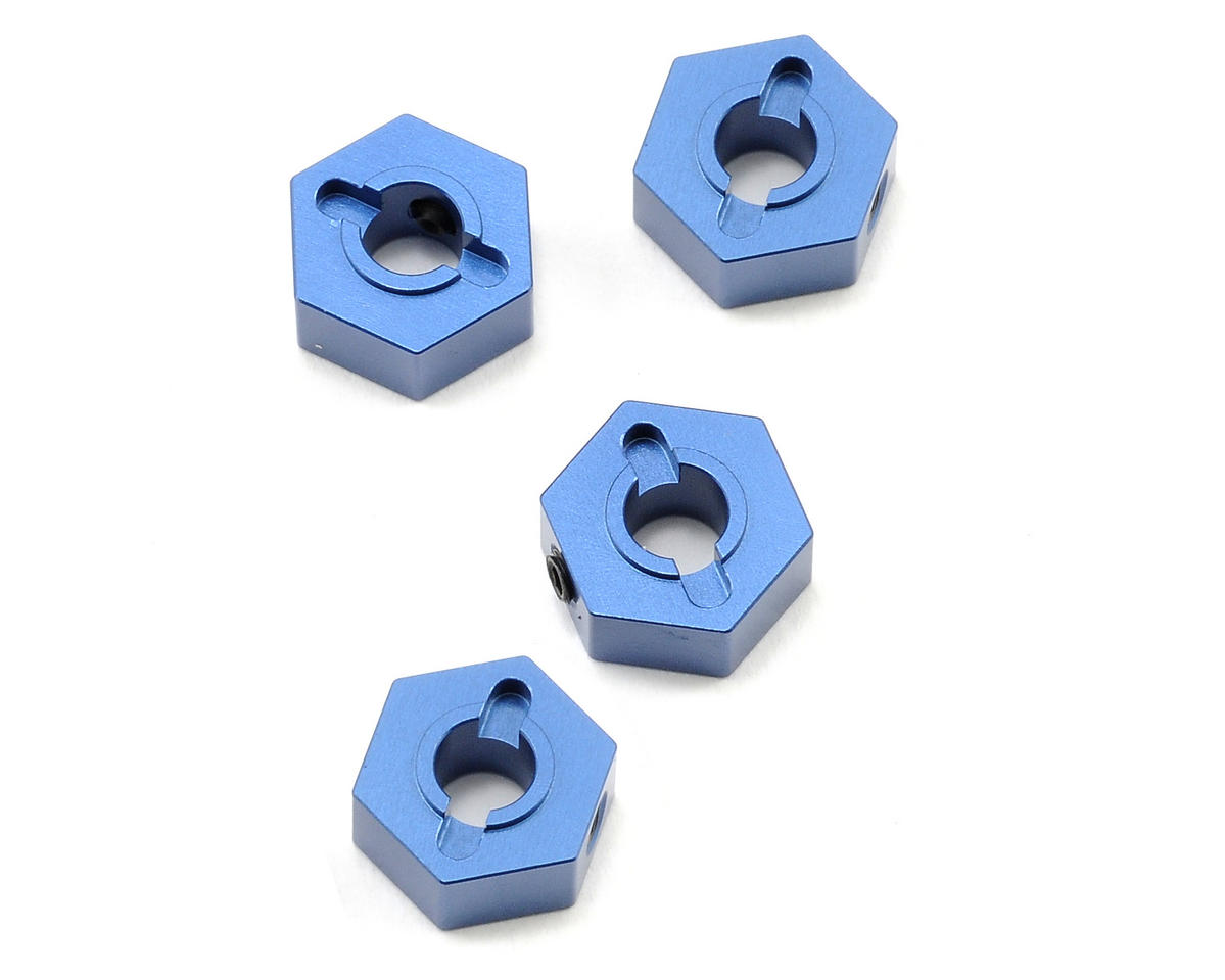 12mm Aluminum Hex Adapters (Blue) (4) (Slash 4x4) by ST Racing Concepts