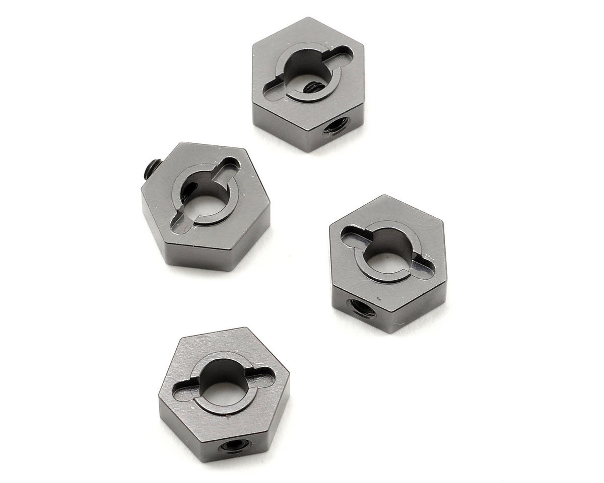 12mm Aluminum Hex Adapters (Gun Metal) (4) (Slash 4x4) by ST Racing Concepts