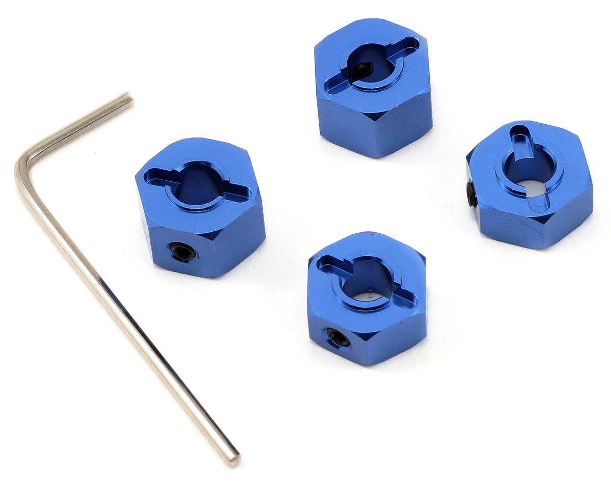 "12mm Aluminum ""Lock Pin Style"" Wheel Hex Set (Blue) (4)"