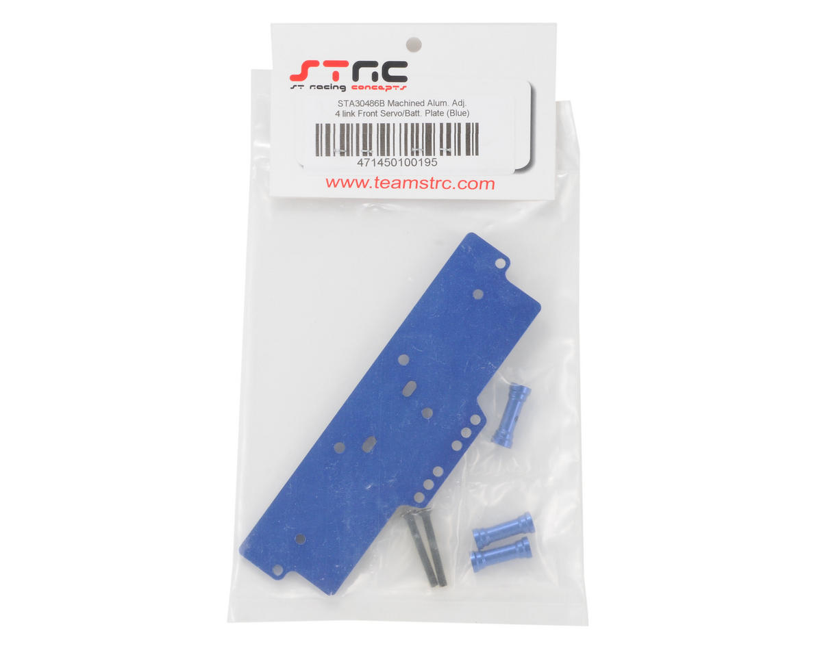 ST Racing Concepts Aluminum Front Adjustable 4-Link Servo/Battery Plate (Blue)