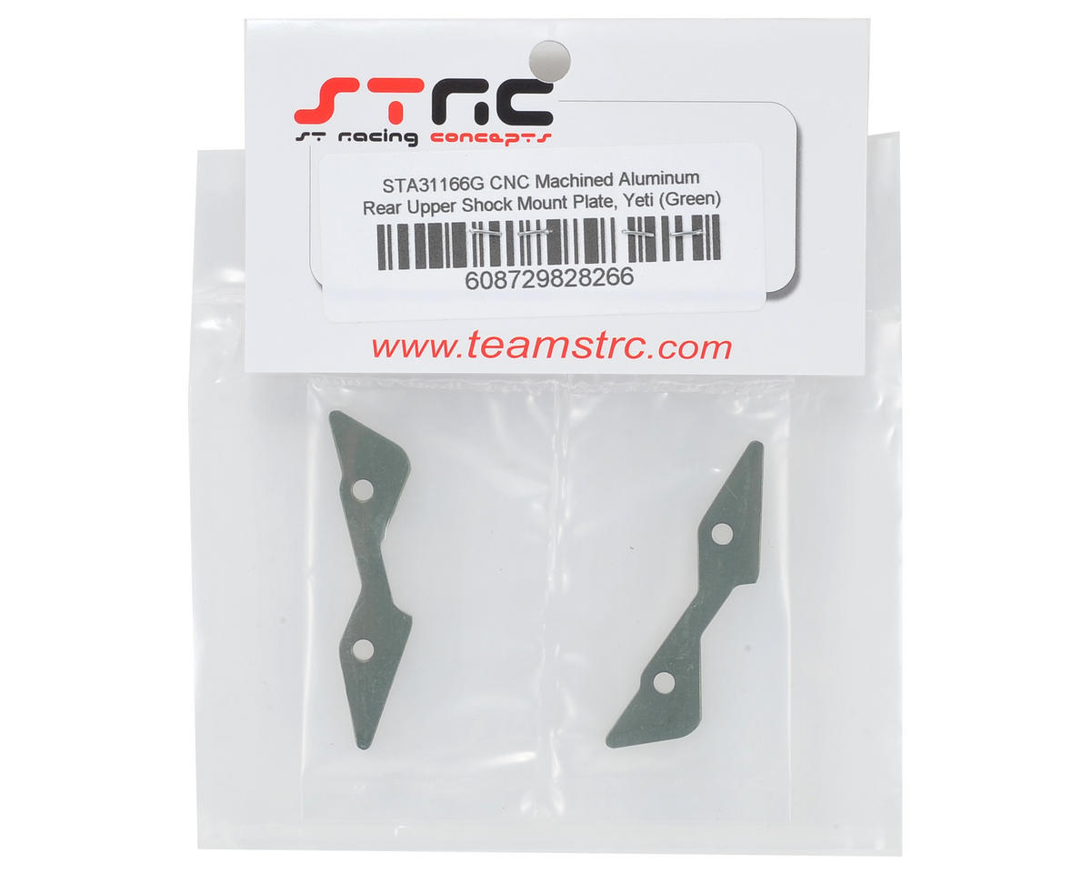ST Racing Concepts Yeti Aluminum Rear Upper Shock Mount Plate (Green)