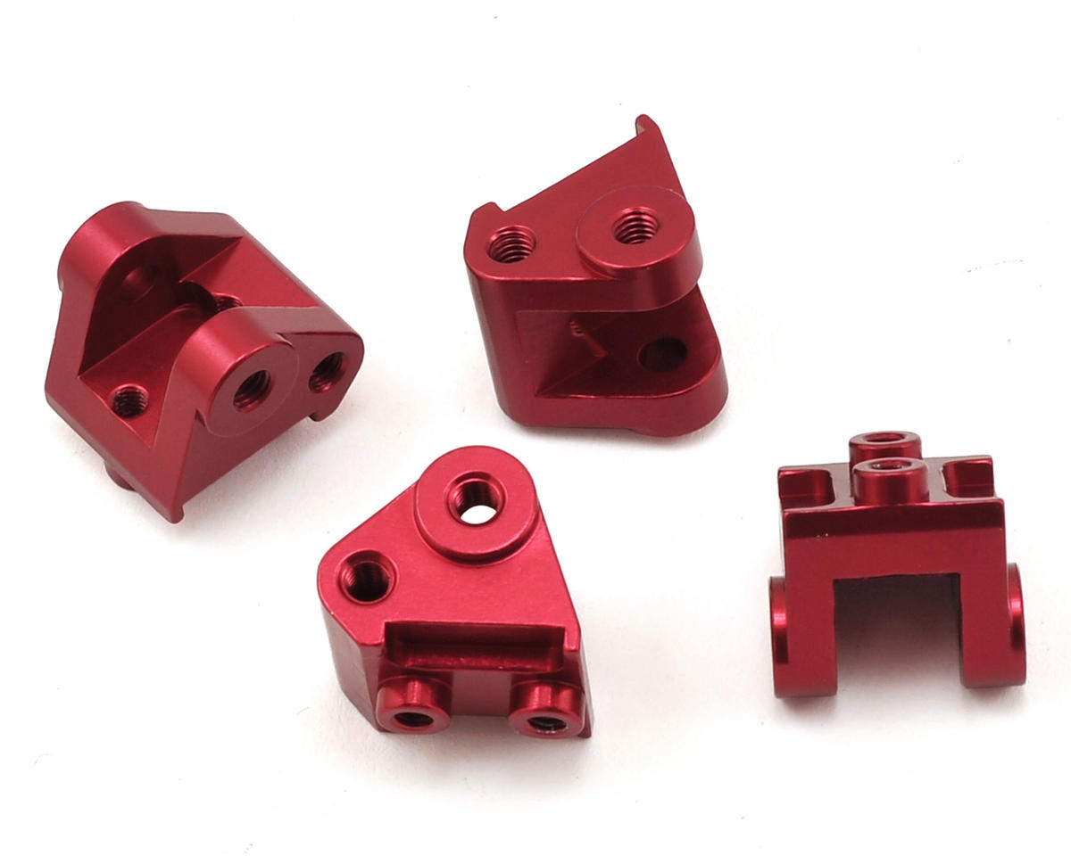 SCX10 II Aluminum Lower Shock/Link Mount (4) (Red) by ST Racing Concepts