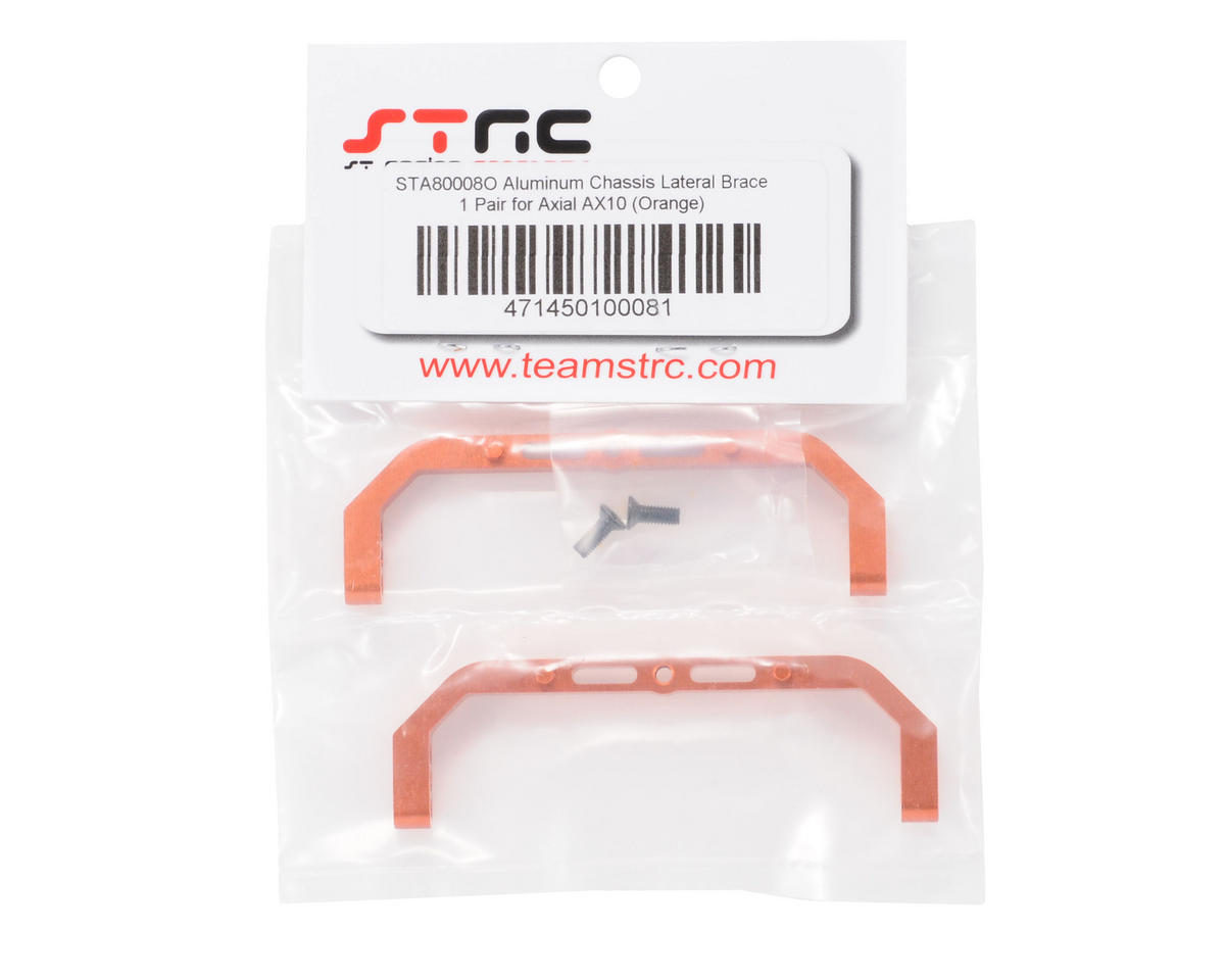 ST Racing Concepts Aluminum Lateral Chassis Braces (Orange) (2)