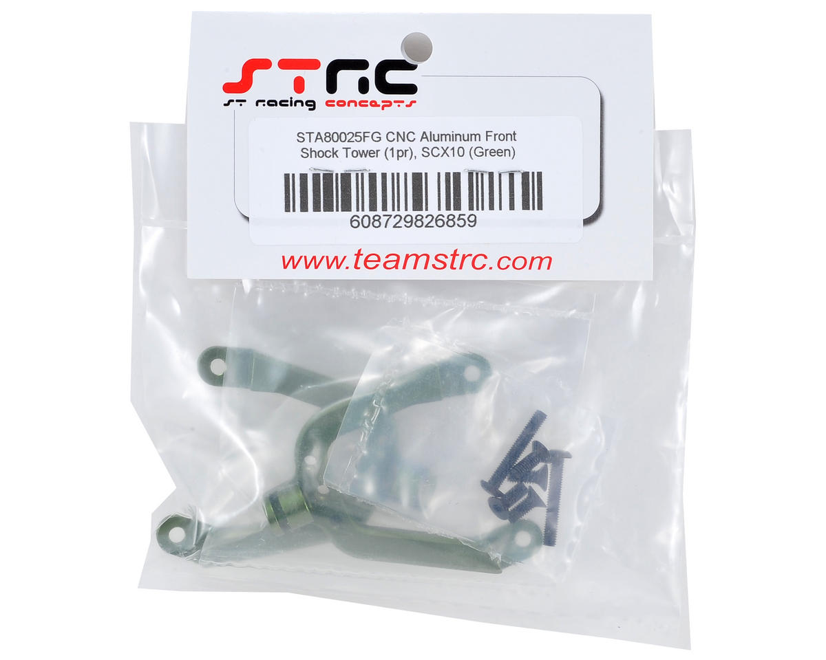 SCX10 Aluminum Front Shock Tower Set (2) (Green) by ST Racing Concepts