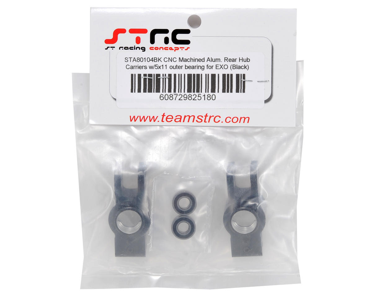 Rear Hub Carrier Set w/Outer Bearings (Black) by ST Racing Concepts