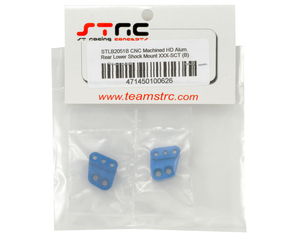 ST Racing Concepts Aluminum HD Rear Lower Shock Standoff Set (Blue) (2)