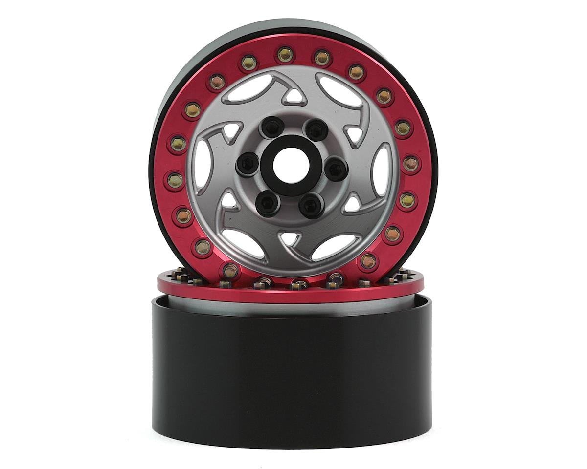 "SSD RC 1.9"" Champion Beadlock Wheels (Silver/Red)"
