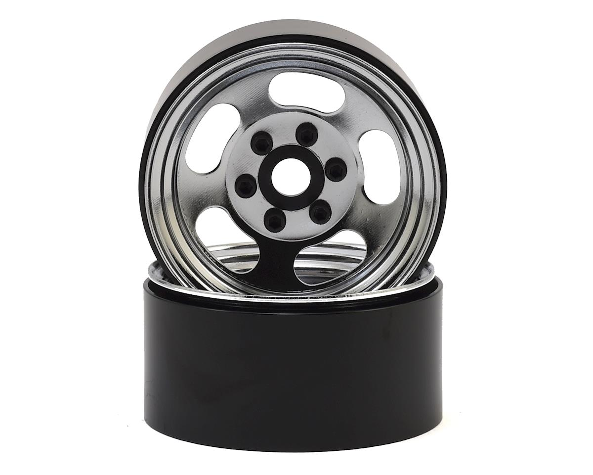 "Slot 1.9"" Steel Beadlock Wheels (Chrome) by SSD RC"