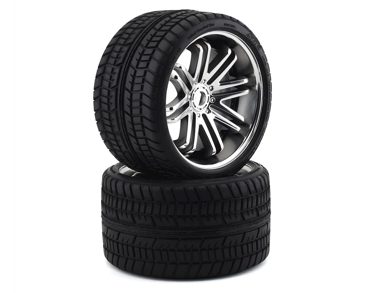 Sweep Road Crusher Belted Pre-Mounted Monster Truck Tires (Chrome) (2)