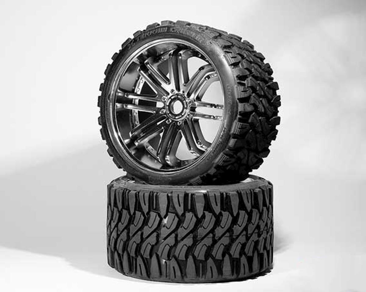 Sweep Terrain Crusher Belted Pre-Mounted Monster Truck Tires (Chrome) (2)