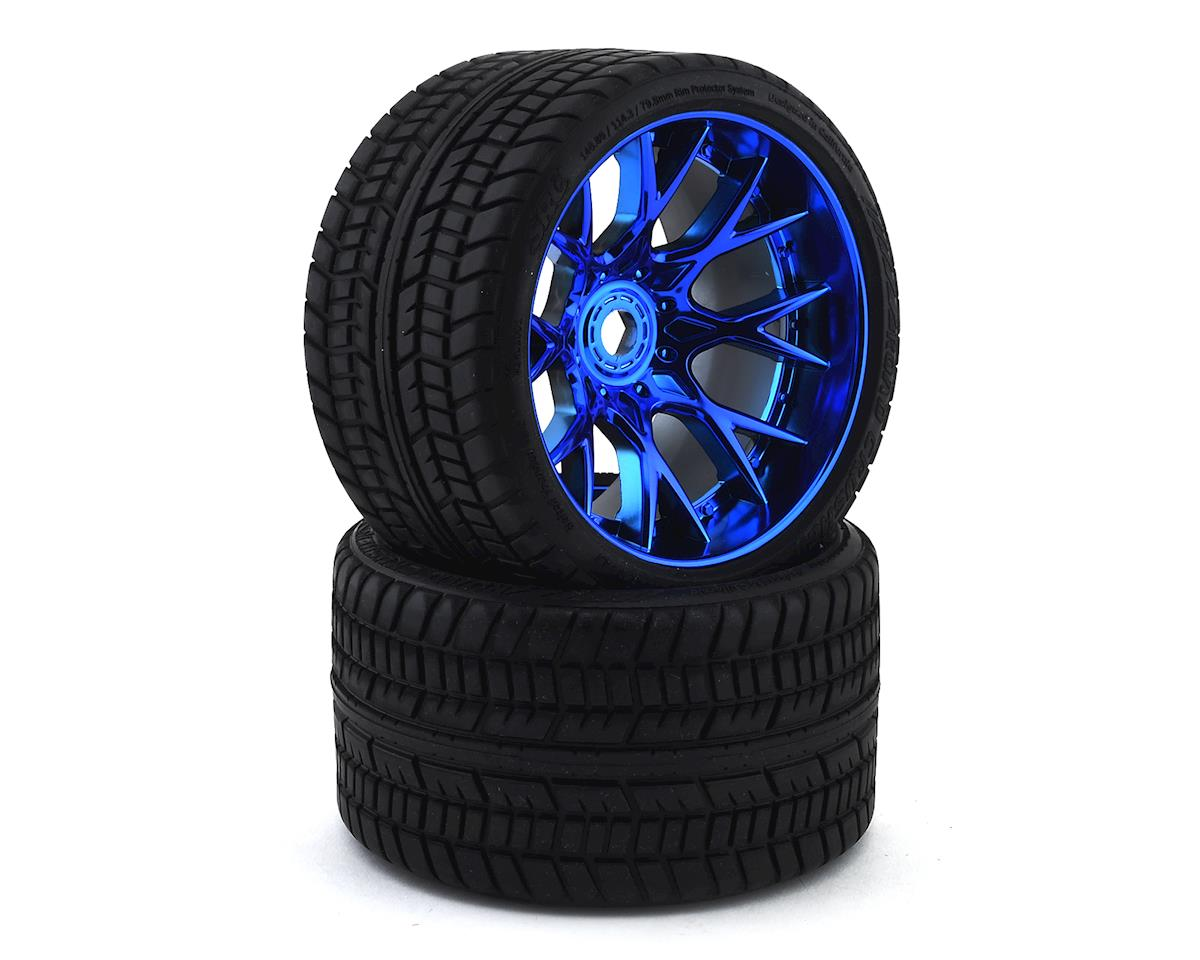 Sweep Road Crusher Belted Pre-Mounted Monster Truck Tires (Blue) (2) (Arrma Outcast 6S BLX)